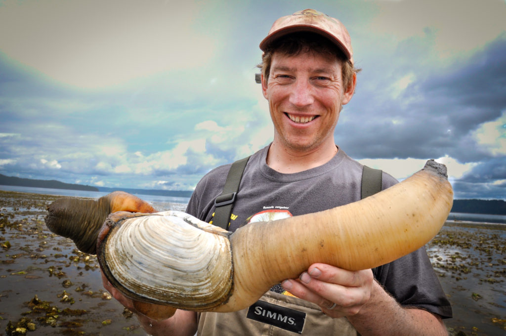 Langdon Cook with a geoduck