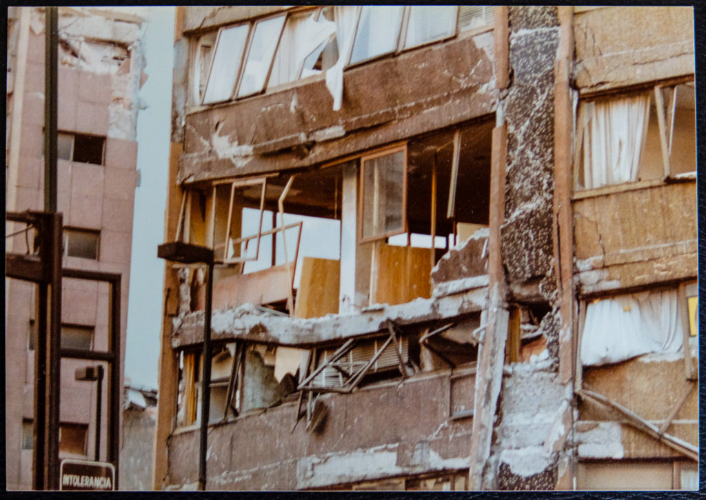 Damaged building detail - Mexico City earthquake, September 1985 - by Eric Parkinson