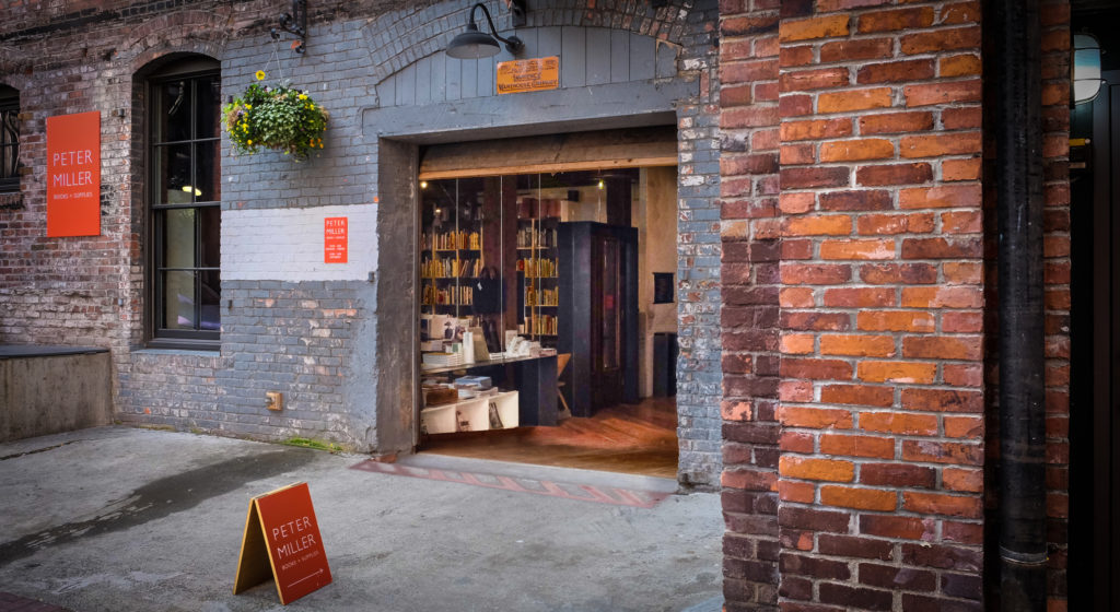 The entrance to Peter Miller Books + Supplies